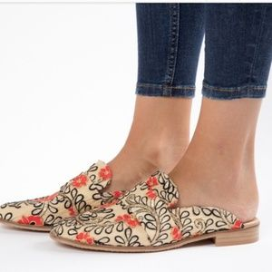 Free People | Brocade Floral At Ease Mules  Sz 39